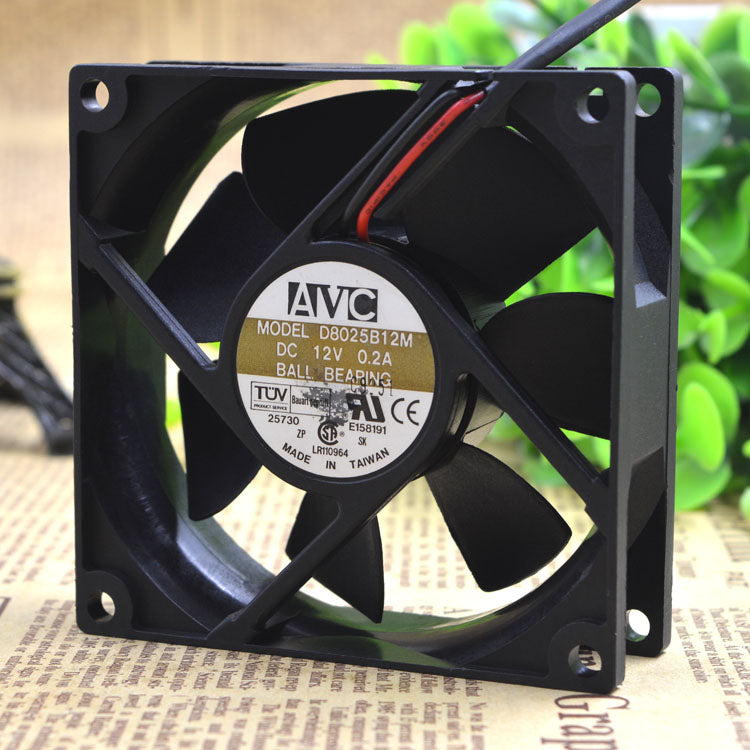 For original Qihong AVC 8025 D8025B12M 8CM 12V 0.20A 3-wire double ball chassis fan - ebowsos