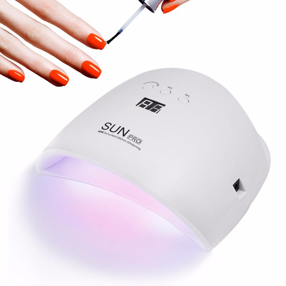 48W UV LED Nail Lamp Light Nail Dryer Gel Polish Curing Lamp Auto Sensor LCD Display 30s/60s/99s Low Heat Mode Portable - ebowsos
