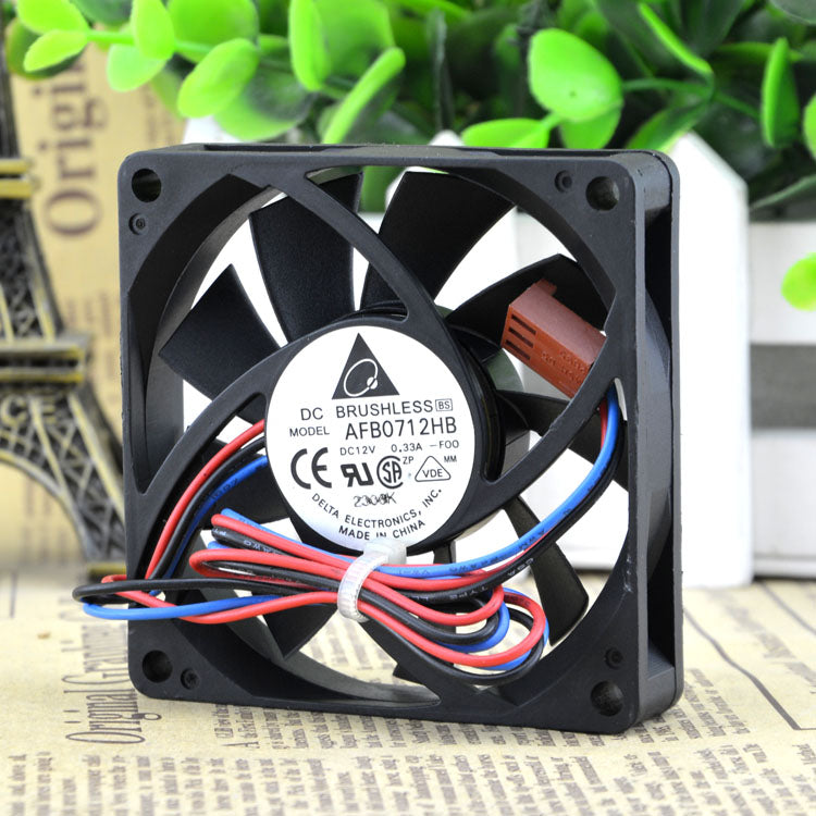 For Delta CPU AFB0712HB DC12V 0.33A 7CM Chassis 7015 Double Ball Cooling Fan - ebowsos