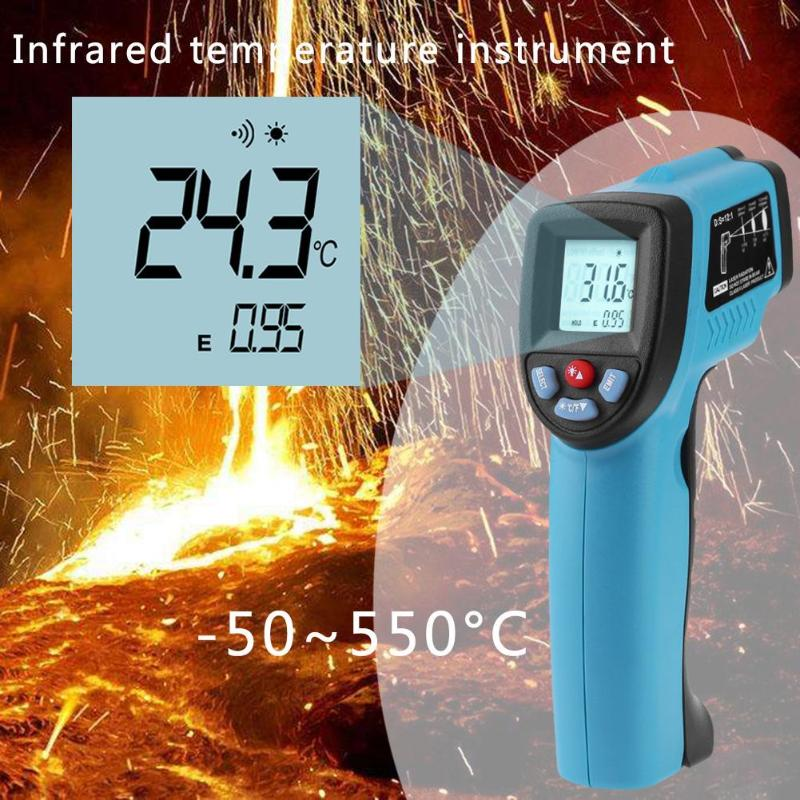 50-550 Degree Non-contact Digital Infrared Forehead Thermometer LCD IR Laser Point Gun Temperature Baby Adult Meter Pyrometer - ebowsos