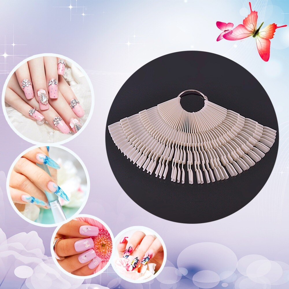 50 pcs/set 3 Tips Nail Color Chart Palette Fan-shaped 150 Colors Nail Art Practice Design Training Polish Color Display Card - ebowsos