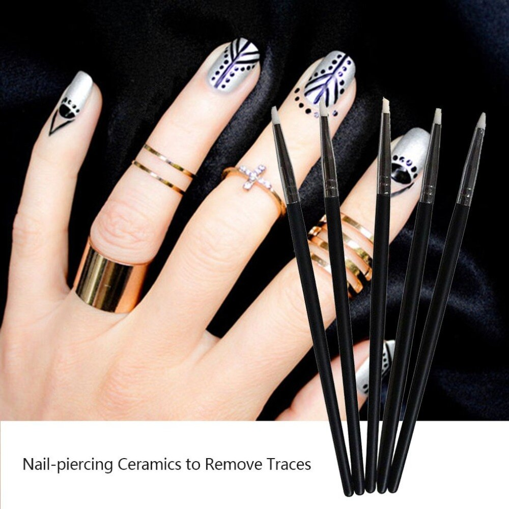5Pcs S Size Soft Silicone Nail Art design Pen Carving Craft Pottery Sculpture UV Gel Building Pencil Professional Tools - ebowsos