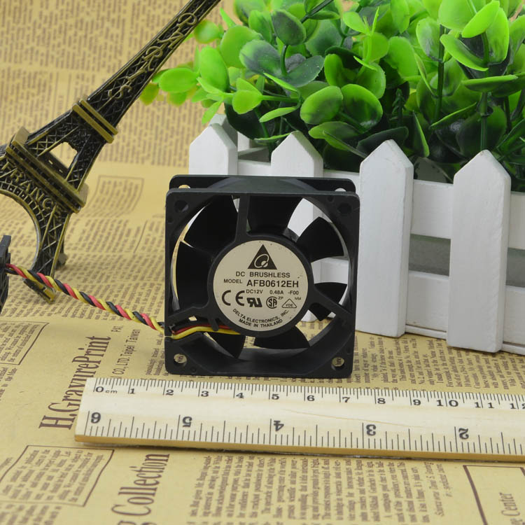 For original Delta AFB0612EH 6 cm 6CM 12V 0.48A 6025 three-wire double ball cooling fan - ebowsos