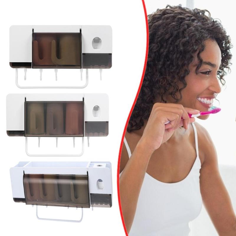5pcs/Set Toothpaste Dispenser Squeezers Wall Mount Toothbrush Cup Holder Easy Wall Mounting Save Space Home Essential Products - ebowsos