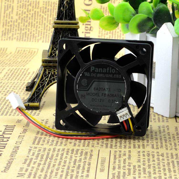 For PANAFLO Panasonic FBA06A12V 12V 0.3A 6025 6CM Mute Three-wire switch fan - ebowsos