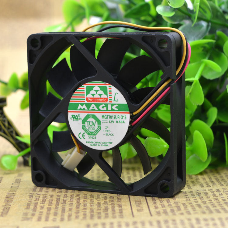 For MAQIC Yongli MGT7012UR-O15 12V 0.58A 7CM 7015 3-wire fan - ebowsos