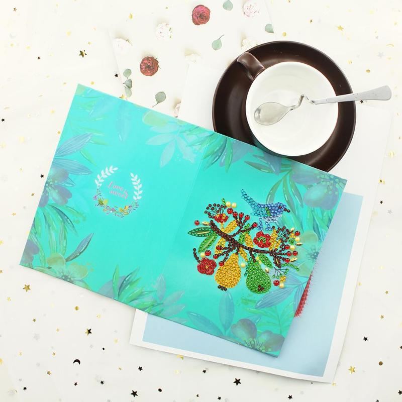 6pcs 5D DIY Special-shaped Diamond Painting Birthday Greeting Cards Gift High Quality Handmade Cards Festive Party Supplies - ebowsos