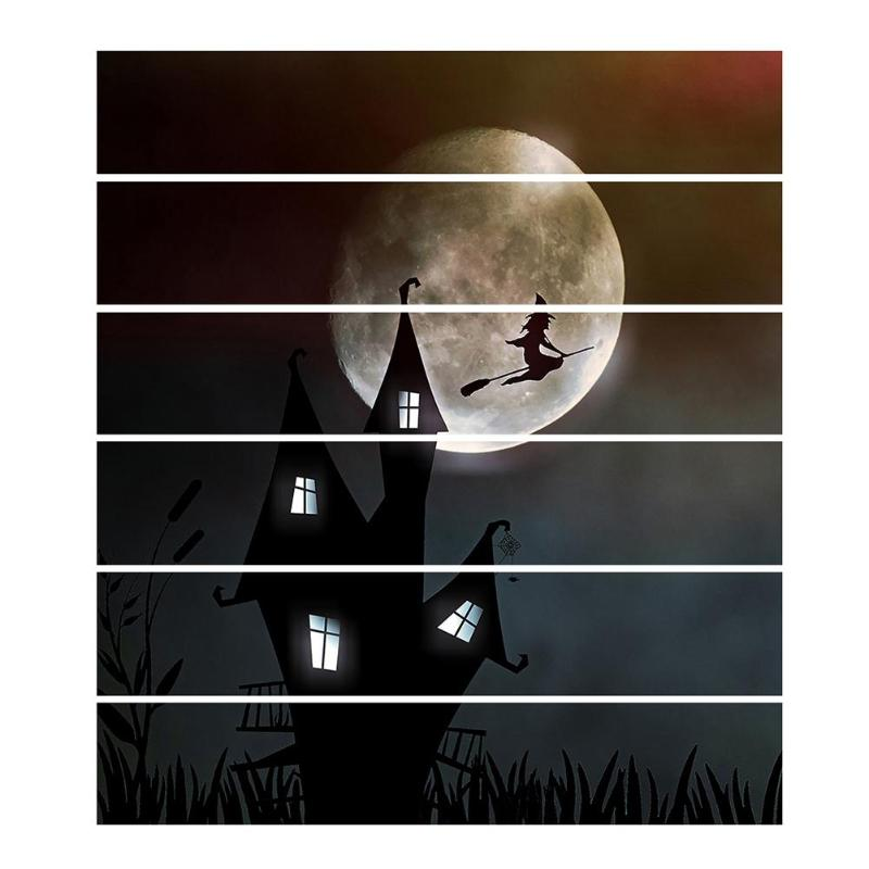 6pcs/set DIY Halloween Witch Riding Broom Stairs Stickers Work Exquisite Waterproof  Home Decals Beautifying Decoration - ebowsos