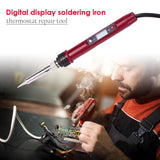 80W LCD Electric Soldering Iron Temperature Adjustable Welding Solder Iron Rework Station Soldering Iron Accessories - ebowsos