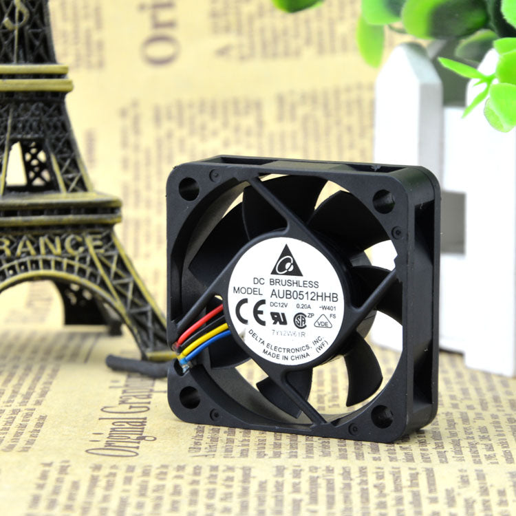 For Delta AUB0512HHB 5015 12V 0.20A 5cm 5cm 4-wire temperature control chassis Cooling fan - ebowsos