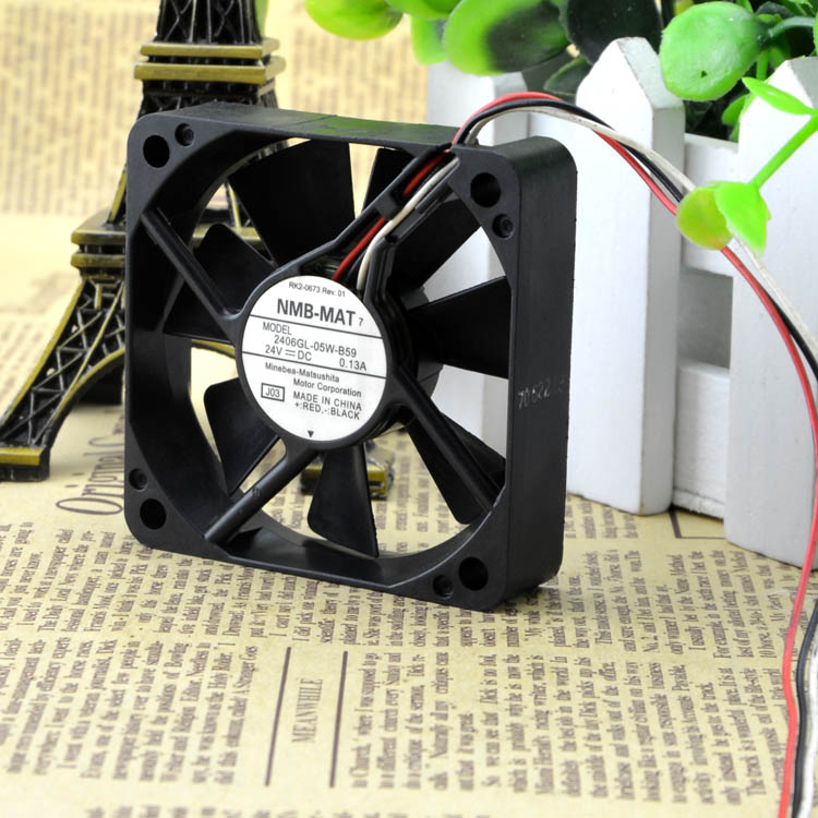 For original NMB 2406GL-05W-B59 24V 0.13A 6CM 6015 3-wire inverter cooling fan - ebowsos