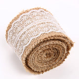 Burlap Natural Hessian Ribbon With Lace Trim Edge Wedding Rustic Vintage - ebowsos