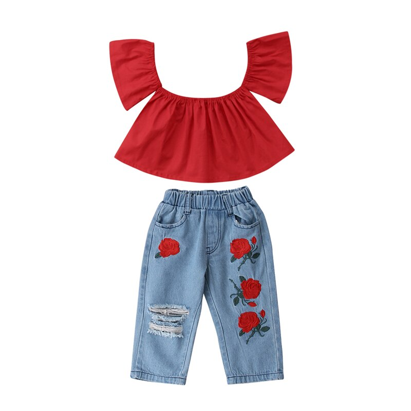 Toddler Kids Baby Girl Off Shoulder Shirt Tops Jeans Pants 2PCS Outfits Clothes