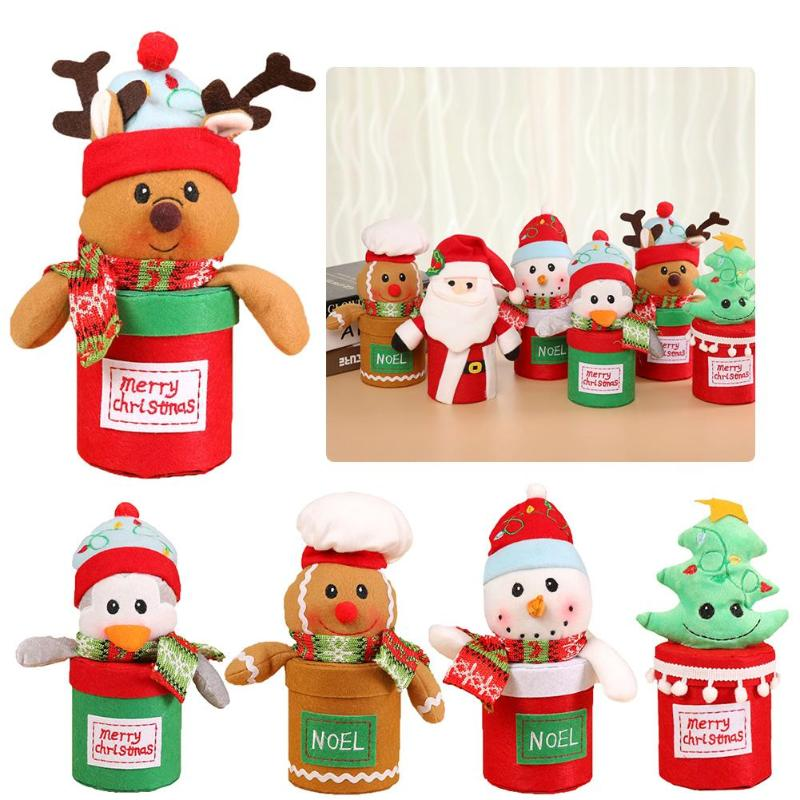 Christmas Candy Jar Santa Claus Snowman Gift Box Xmas Ornaments Home Decor - ebowsos