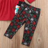 Christmas Outfits Kids Girl Clothing Children Clothes Long Sleeve Snowman T-shirts Tops Pants Scarf Boutique Girls Outfit Sets - ebowsos