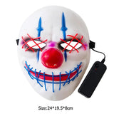 Classic Bigmouth Joker Shaped LED Cold Light Luminous Mask Impact Resistance No Deformation Halloween Role Playing Mask - ebowsos