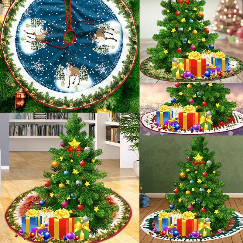 Creative Non-Woven Round Carpet Christmas Tree Skirt Fashionable Elegant Ornament Durable for Indoor Party Supplies Decoration - ebowsos