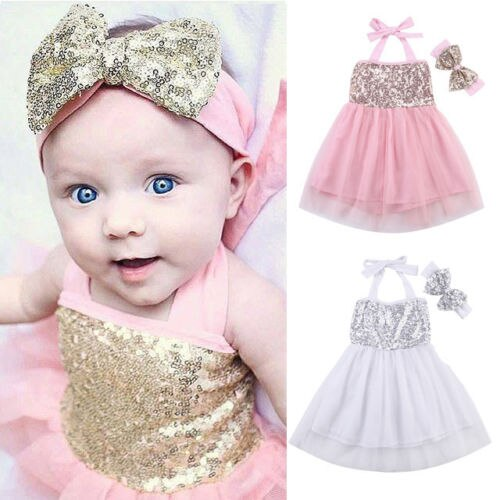 2df72dd1942b Cute Infant Kids Baby Girls Clothes Dress Toddler Jumpsuit Sleeveless  Princess Clothing Dresses+Headband Outfits