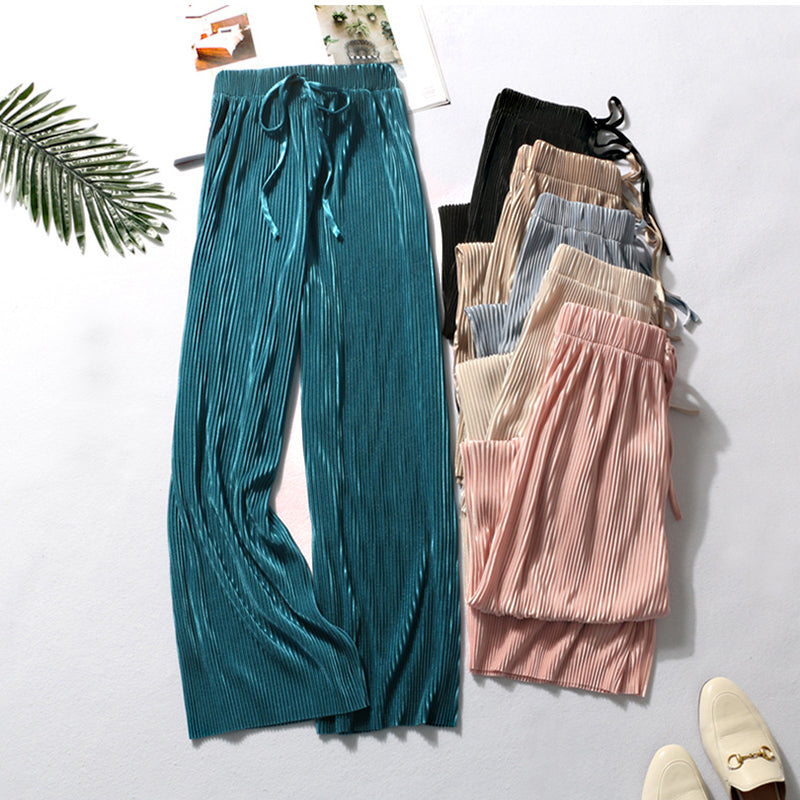 New Fashion Summer Wide Leg Pants For Women Casual Elastic High Waist Loose Long Pants Pleated Pant Trousers Femme-ebowsos