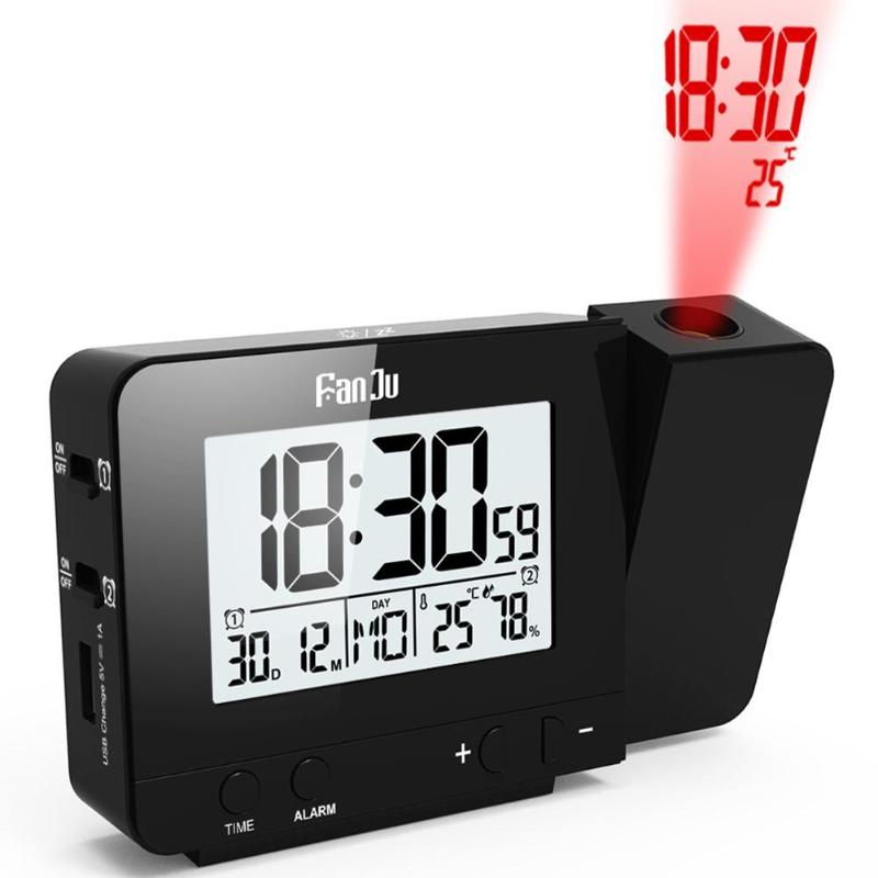 Digital Projection Alarm Clock Weather Station with Thermometer Hygrometer - ebowsos