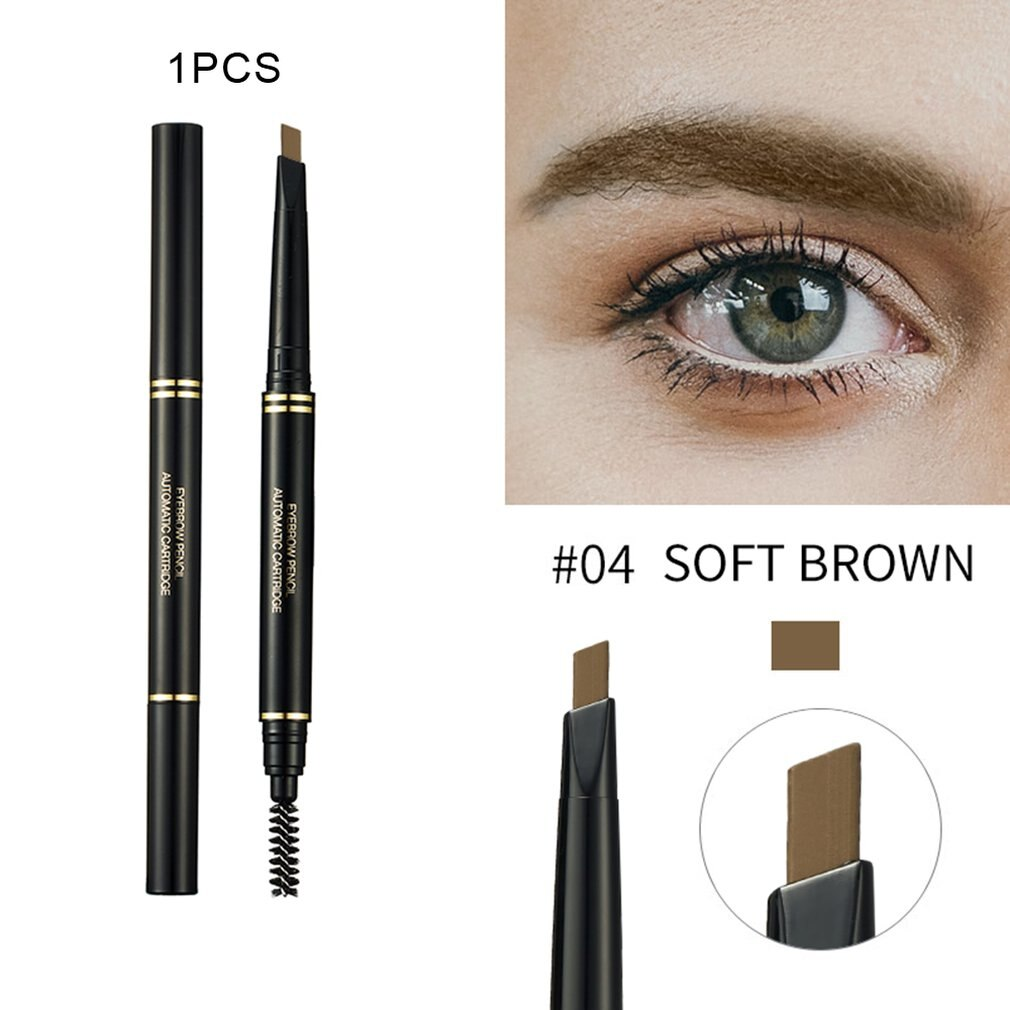 Triangle Eyebrow Pencil Waterproof Rotating Double-Head with Eyebrow Brush Light Brown