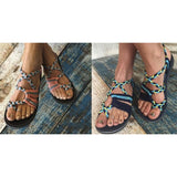 Bohemian Sandals Fashion Gladiator Sandals Female Flat Sandals Rome Style Cross Tied Sandals Shoes Beach Ladies Shoes - ebowsos