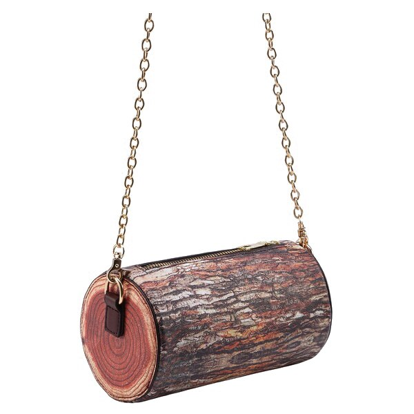 Brown Tree Stump Shaped Chain Bag Color: Brown Cross section - ebowsos