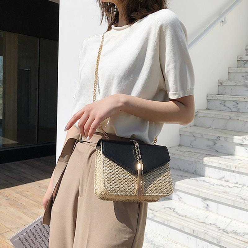 cb2757d6a9b4 Fringed Chain Small Flap Bag For Women Straw Crossbody Bags Ladies Summer  Messenger Shoulder Handbags And Purses