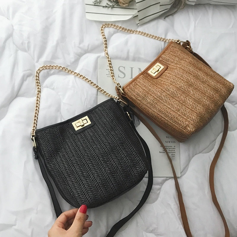 b871b19bfc8b Hand-Woven Women Straw Bag Ladies Small Shoulder Bags Bohemia Beach Bag  Crossbody Bags Travel Handbag Tote