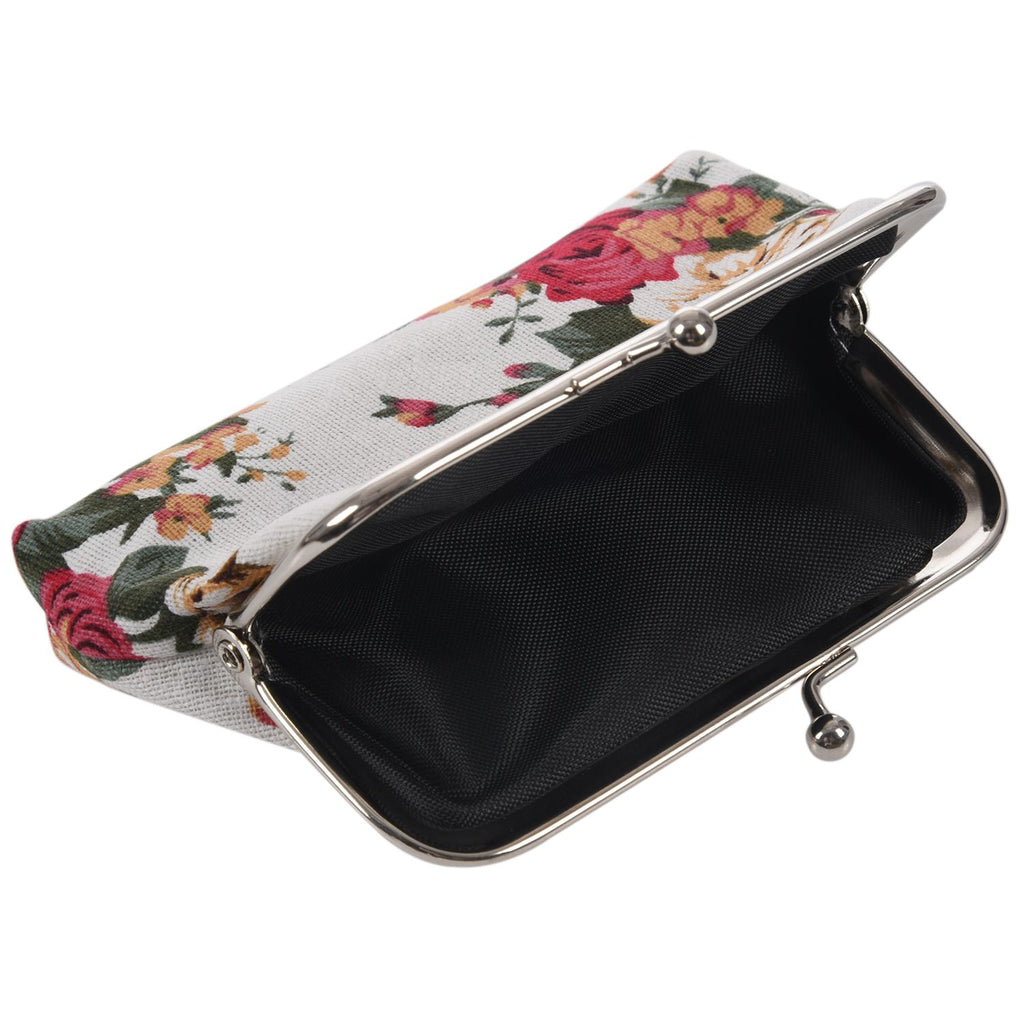 Coin Purse Flower Floral Cloth Wallet Buckle Clutch Handbag For Women Girls Gift