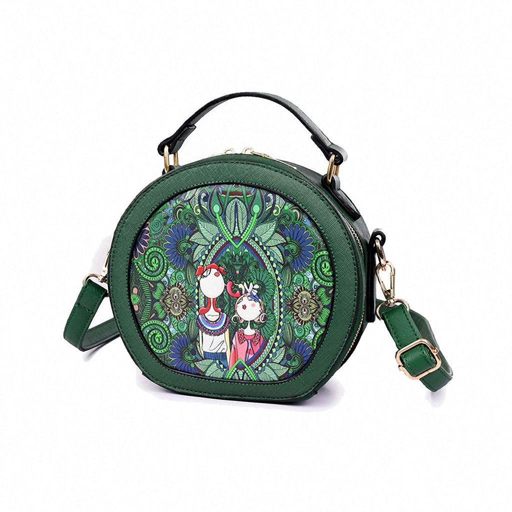 Ms. bag patchwork forest girl printing green PU leather fashion trend round shoulder bag - ebowsos
