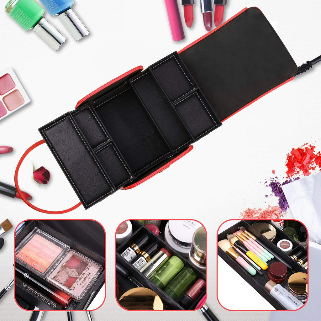 Professional Large Removable Pu Leather Cosmetic Makeup Vanity Box Jewelry Saloon Case Bag Black