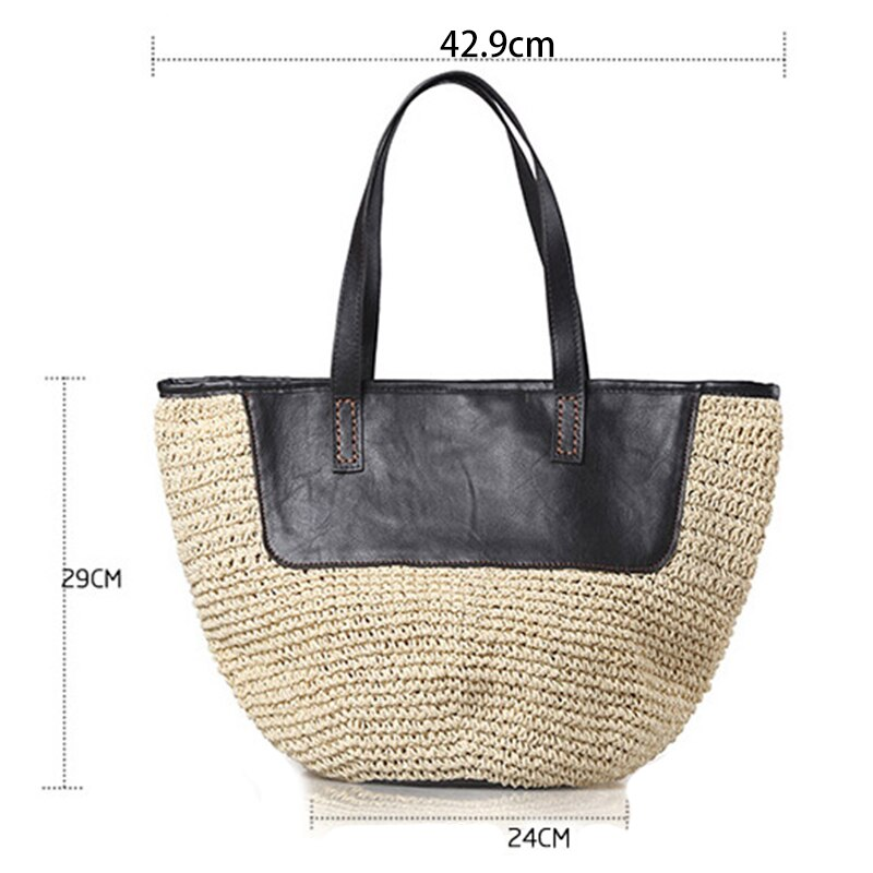 c5718805de7e Straw Tote Handbags For Women Beach Bags Woven Straw Purses Shoulder Bags  For Girls Summer Outfits, Khaki And Black