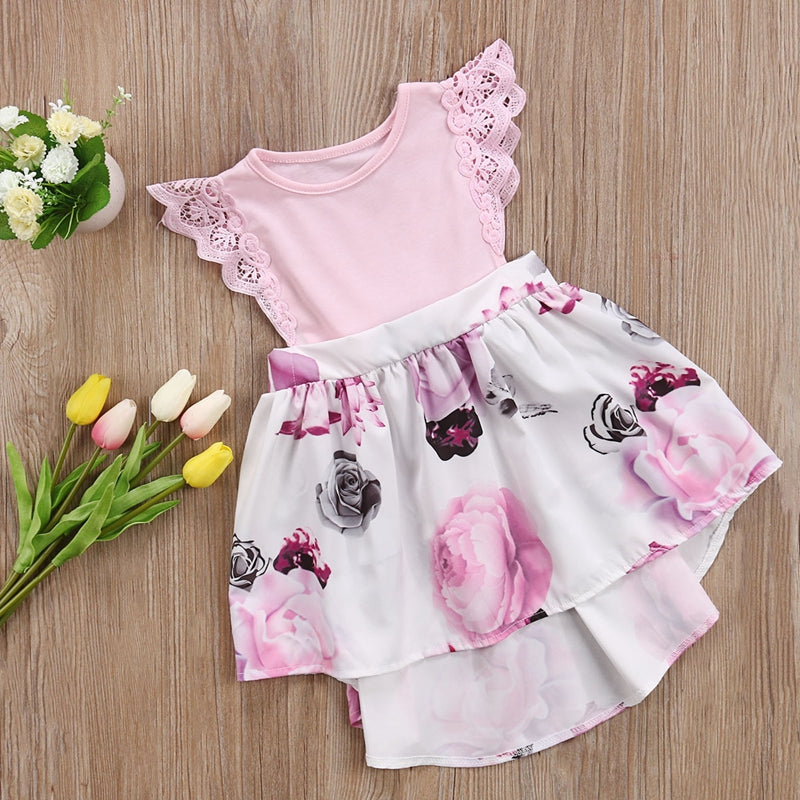 557b718e61297 Family Sister Floral Matching Clothing Baby girls lace Floral Romper &Dress clothes  set outfits - ebowsos