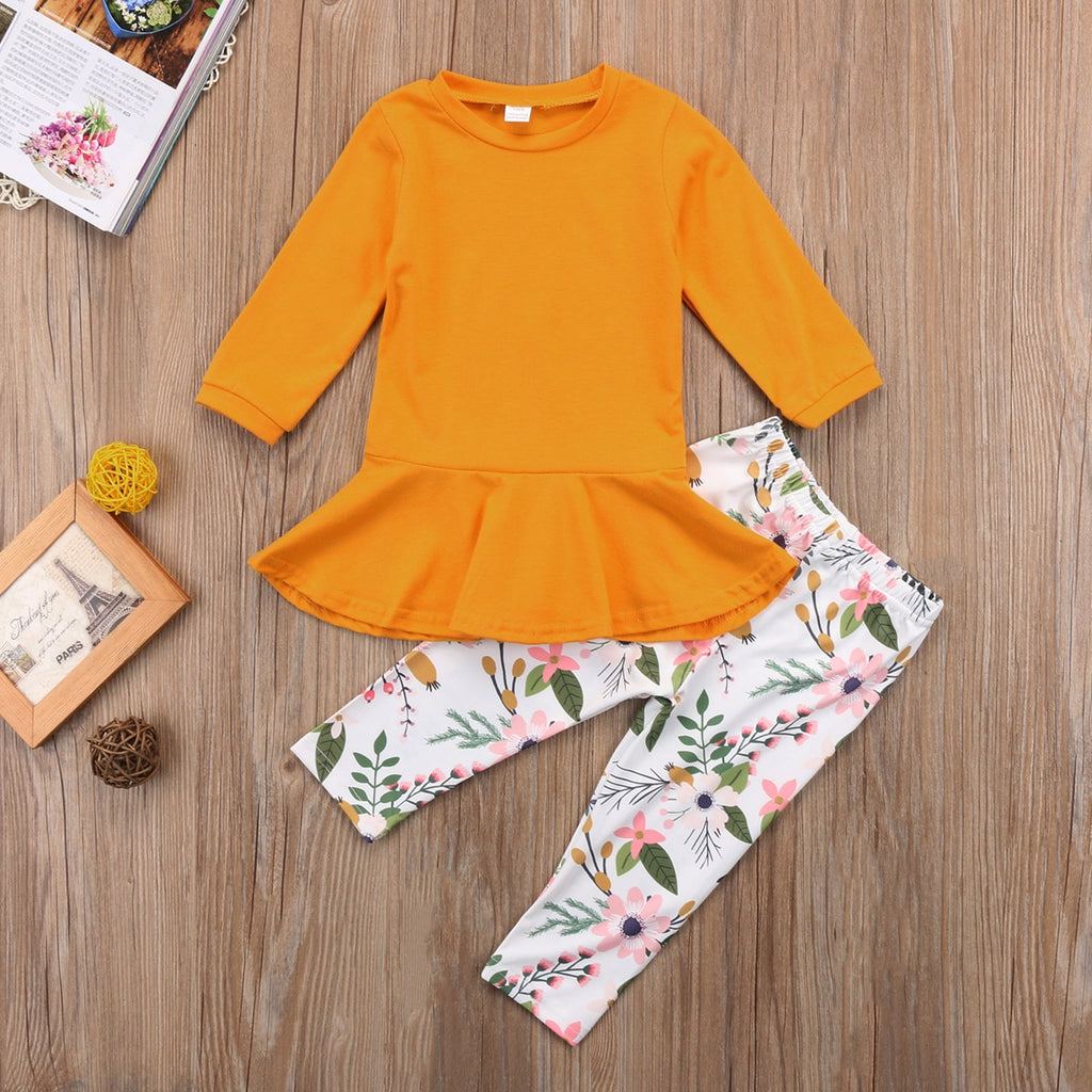 Long Pants Set Toddler Kids Girls Outfits Warm Clothes Long Sleeve T-shirt Tops