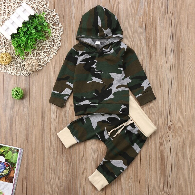 db61f365d0e37 Fashion Newborn Infant Kids Baby Boy Clothing Sets Camouflage Hooded T-shirt  Tops Clothes+