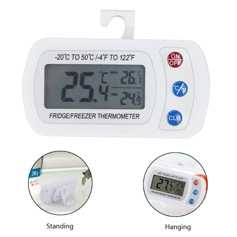 Freezer Thermometer with Hook Button Battery Waterproof LCD Digital Display Refrigerator Thermometers Function For Home Fridge - ebowsos