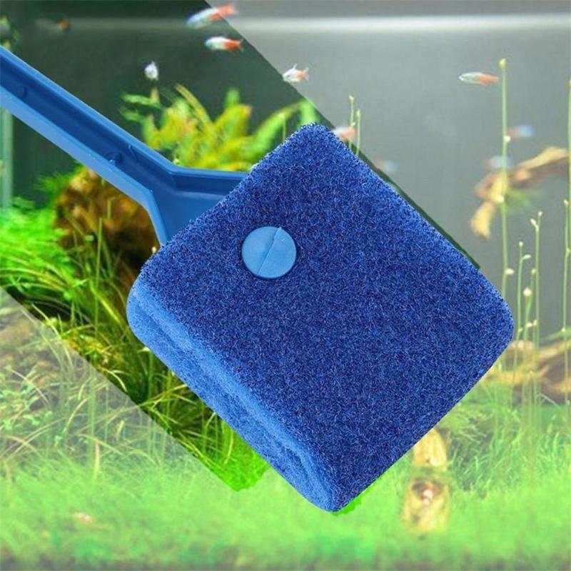 HJ 2Pc Aquarium Fish Tank Algae Cleaner Glass Plant Easy 2 Head Cleaning Brush - ebowsos