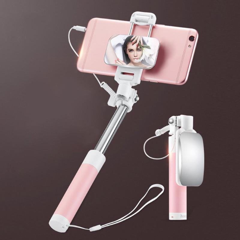 Mini Monopod Extendable Wired Selfie Stick With Mirror For iPhone Samsung Phone