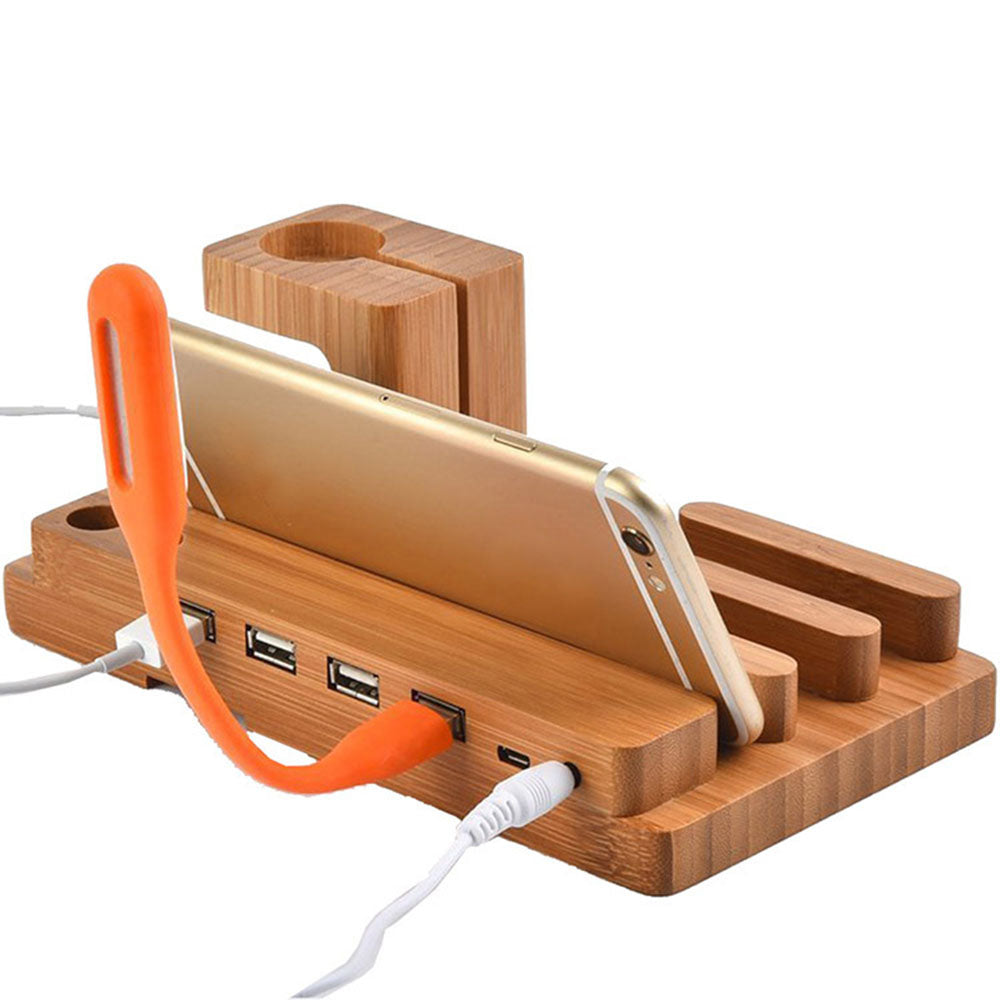 Fashion Multifunctional Bamboo USB Charging Dock Phone Tablet Holder Mount for Apple Watch Phone Holder - ebowsos