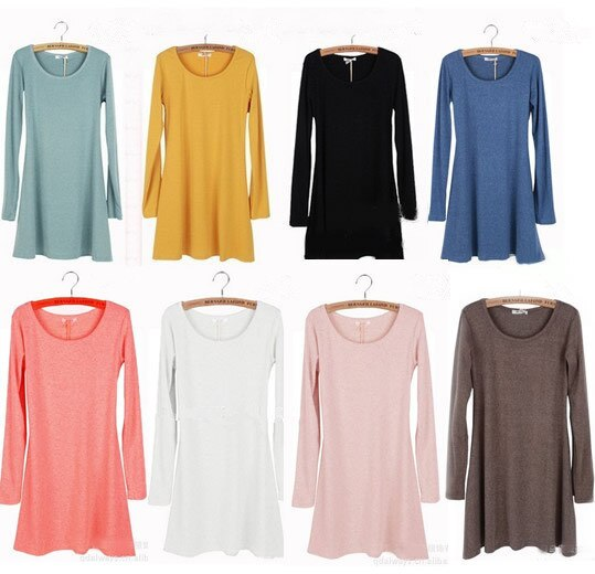 New Women  Autumn / winter Female Dresses Ladies' O-neck Long Sleeve Grinding Woolen Fashion Dress Hot selling - ebowsos