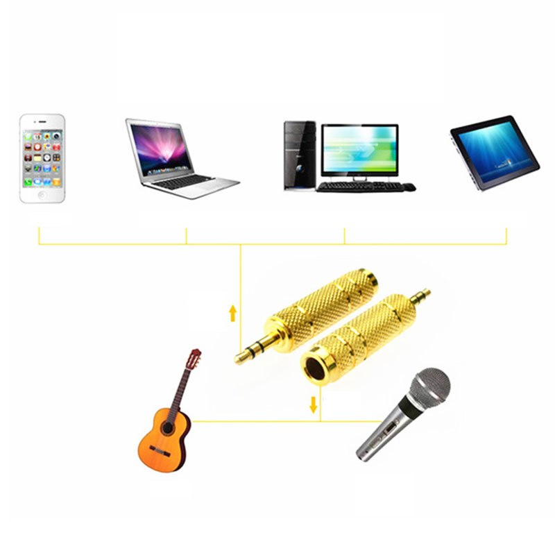 3.5mm Male to 6.5 mm Female Adapter 3.5 plug to 6.35 Jack Stereo Speaker Audio Adapter converter for Mobile Phone PC Notebook - ebowsos
