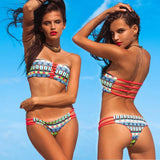 Brazilian Thong Swimwear Wild Female Bandeau Bathing Suits Sexy Strapless Bikini Swimsuit Reversible Bikini Set Drop Shipping - ebowsos