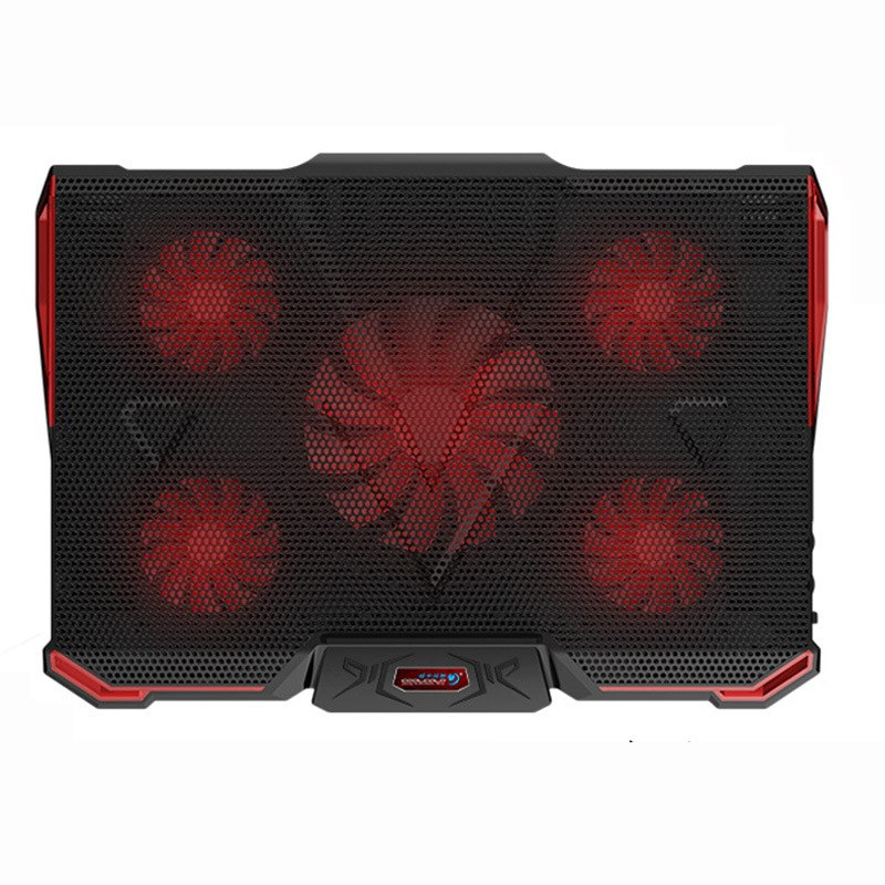 COOL COLD Notebook PC Cooler Laptop Cooling Pad Stand Air Cooled 5 LED Fans 2 USB Ports Adjustable Holder for 15 15.6 17 Laptop - ebowsos