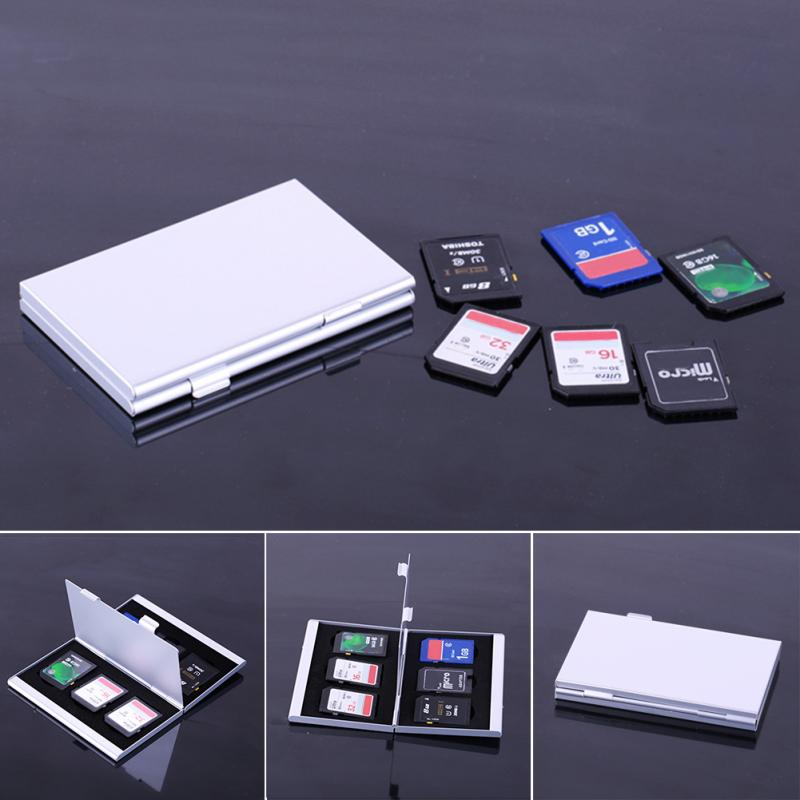 Aluminium Alloy EVA Aluminum Micro for SD MMC TF Memory Card Storage Box Protecter Case 6 SD card - ebowsos