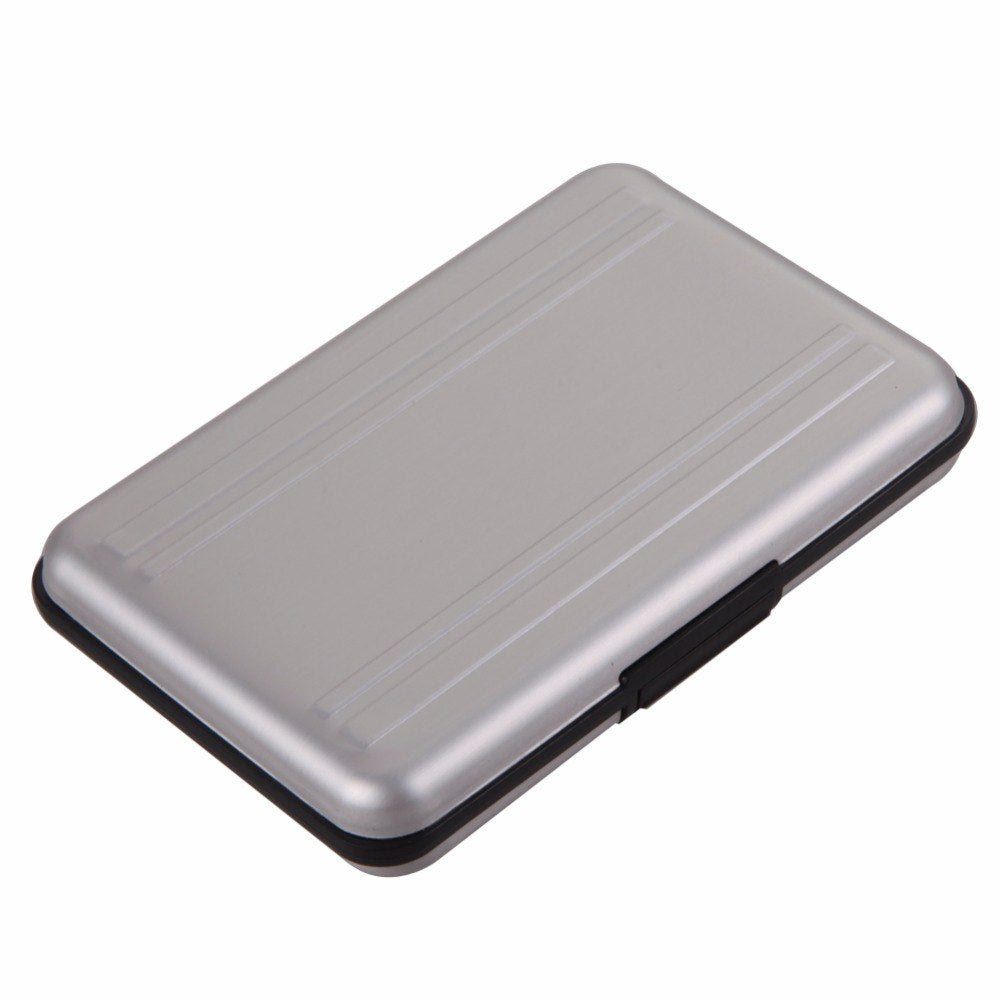 Portable Silver Aluminum Memory Card Case 16 Slots (8+8) For Micro SD SD/ SDHC/ SDXC Card Storage Holder New Card Case - ebowsos