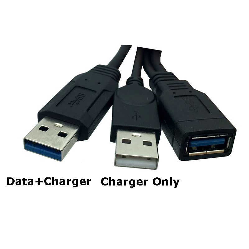 "USB 3.0 Female to Dual USB Male Extra Power Data Y Extension Cable for 2.5"" Mobile Hard Disk Black Color 30cm - ebowsos"