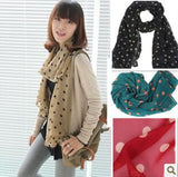 New Stylish Girl Long Soft Silk Chiffon Scarf Wrap Polka Dot Shawl Scarve For Women Hot Sale - ebowsos