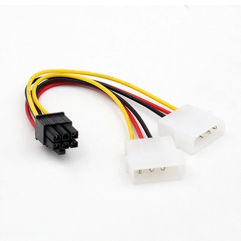 2 IDE Dual 4pin IDE Male to 6 Pin Female Power Cable PCI Express Dual 4 Pin IDE Connector to 6 Pin Cable Adapter - ebowsos