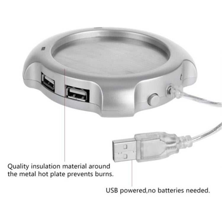 USB Warmer Sliver Warm Tea Coffee Cup Mug Warmer USB Heater Pad With 4 USB Port Hub With On/Off Switch - ebowsos